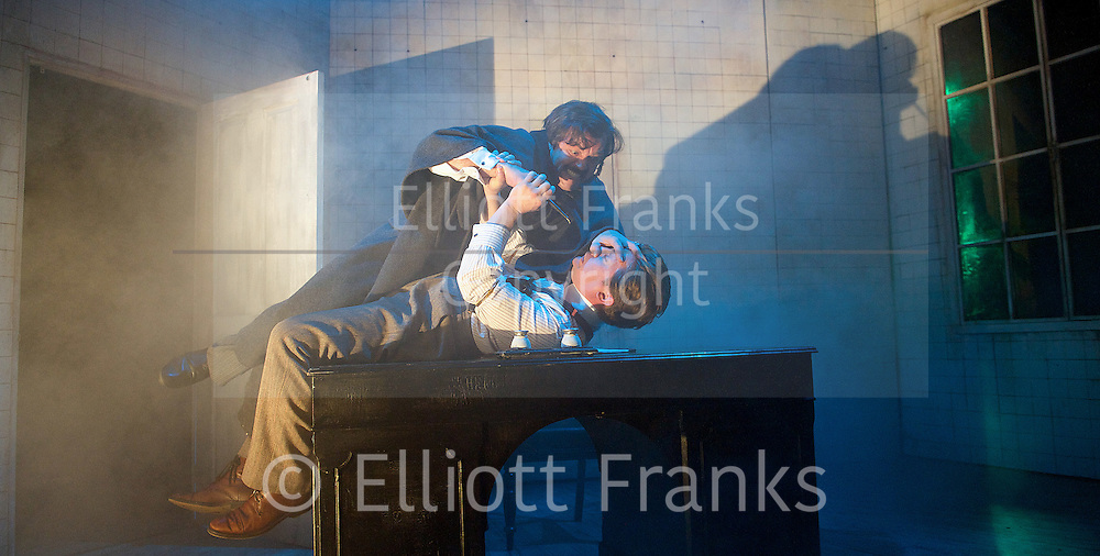 Grand Guignol<br /> by Richard J Hand &amp; Michael Wilson <br /> directed by Simon Stokes <br /> at Southwark Playhouse, London, Great Britain <br /> press photocall<br /> 24th October 2014 <br /> <br /> Jonathan Broadbent as De Lorde<br /> <br /> Andy Williams as maurey <br /> <br /> <br /> Photograph by Elliott Franks <br /> Image licensed to Elliott Franks Photography Services
