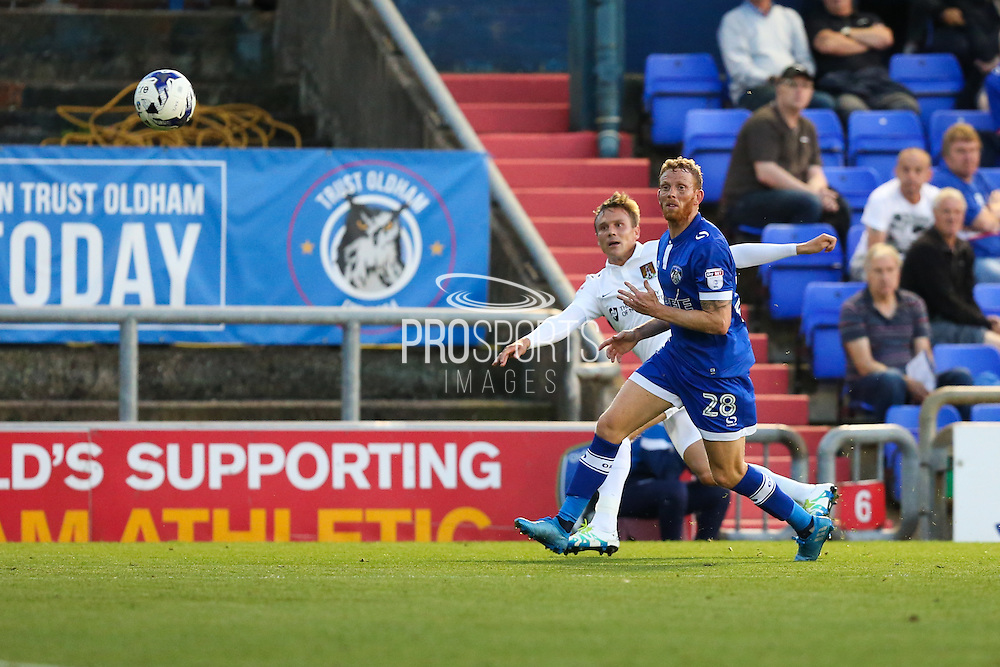 Matthew Taylor of Northampton Town attempts a cross during the EFL Sky Bet League 1 match between Oldham Athletic and Northampton Town at Boundary Park, Oldham, England on 16 August 2016. Photo by Simon Brady.