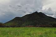 Areas of the Huachuca Mountains near the Coronado National Monument in the Coronado National Forest are closed to the public weeks after the fire in Sierra Vista, Arizona, USA.  A monsoon storm approaches the area.