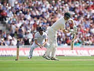 Adam Voges of Australia comes close to being bowled out during the 5th Investec Ashes Test Match match at the Kia Oval, London<br /> Picture by Alan Stanford/Focus Images Ltd +44 7915 056117<br /> 21/08/2015