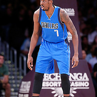12 April 2014: Dallas Mavericks forward Al-Farouq Aminu (7) is seen on the defense during the Dallas Mavericks 120-106 victory over the Los Angeles Lakers, at the Staples Center, Los Angeles, California, USA.