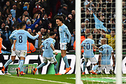 Goal celebration - Vincent Kompany (4) of Manchester City celebrates scoring a goal to give a 0-2 lead during the EFL Cup Final match between Arsenal and Manchester City at Wembley Stadium, London, England on 25 February 2018. Picture by Graham Hunt.