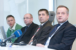 Srecko Meolic, Branko Gros, mag. Stanko Glazar and Tugo Frajman, candidate for the president of Slovenian football federation at press conference,  on January 23, 2009, in Ljubljana, Slovenia.  (Photo by Vid Ponikvar / Sportida)
