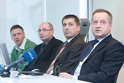 Srecko Meolic, Branko Gros, mag. Stanko Glazar and Tugo Frajman, candidate for the president of Slovenian football federation at press conference,  on January 23, 2009, in Ljubljana, Slovenia.  (Photo by Vid Ponikvar / Sportida)