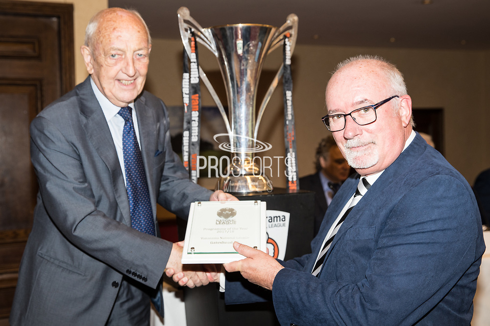 Award presentation during the National League Gala Awards Evening at Celtic Manor Resort, Newport, South Wales on 9 June 2018. Picture by Shane Healey.