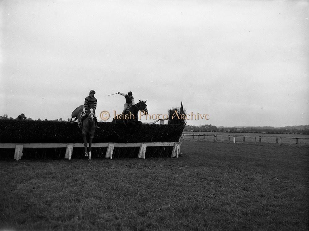 """27/01/1962<br /> 01/27/1962<br /> 27 January 1962<br /> Horse Racing - Celbridge Handicap Steeplechase at Naas. """"The Proud Servant"""" (left) J. Hogan up, leads Grand National Entry """"Carraroe"""" J.J. Rafferty up, over the last fence. """"The Proud Servant"""" went on to win with """"Carraroe"""" in 3rd place behind """"Irish Reel""""."""
