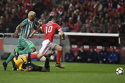 February 3, 2018 - Lisbon, Portugal - Benfica's forward Jonas (R). ies with Rio Ave's defender Marcao (L) and Rio Ave's goalkeeper Cassio during the Portuguese League  football match between SL Benfica and Rio Ave FC at Luz  Stadium in Lisbon on February 3, 2018. (Credit Image: © Carlos Costa/NurPhoto via ZUMA Press)