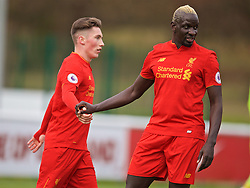 BURTON-UPON-TRENT, ENGLAND - Saturday, December 3, 2016: Liverpool's Harry Wilson celebrates scoring the first goal against Leicester City with team-mate Mamadou Sakho during the Premier League International Cup match at St. George's Park. (Pic by David Rawcliffe/Propaganda)