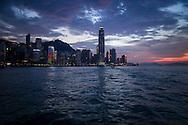Colorful skyline of Hong Kong at sunset, China, Asia