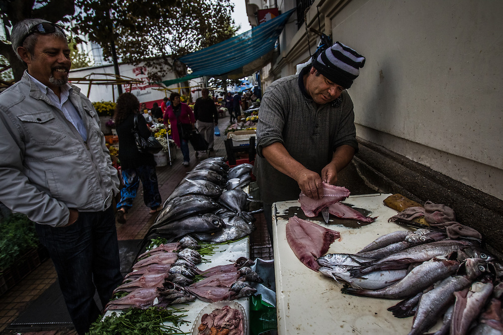 VALPARAISO, CHILE - MARCH 17, 2014: Men sell fish caught by artisanal fishers on small tables in the city streets surrounding the market in Valparaiso, Chile.  PHOTO: Meridith Kohut for The World Wildlife Fund