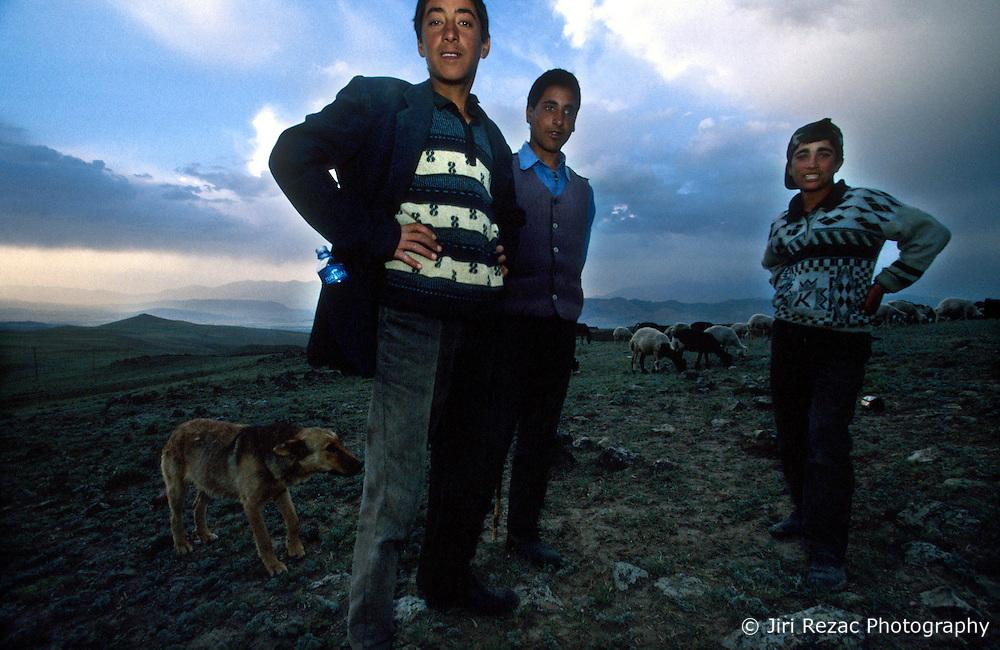 TURKEY DOGUBEYAZIT JUL02 - Nomadic shepherds attend a flock of sheep in the mountains near Dogubeyazit. ..jre/Photo by Jiri Rezac..© Jiri Rezac 2002..Contact: +44 (0) 7050 110 417.Mobile:  +44 (0) 7801 337 683.Office:  +44 (0) 20 8968 9635..Email:   jiri@jirirezac.com.Web:     www.jirirezac.com