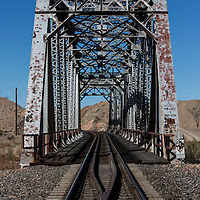 Train Bridge over the Mojave River at the west end of Afton Canyon, CA.  Photo was taken in January of 2015.