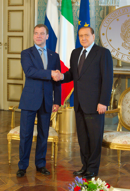 MILAN, ITALY - JULY 23:&nbsp; Italian Prime Minister Silvio Berlusconi and Russian Pesident Dimitry Medvedev ahead of the press conference at Palazzo della Provincia on July 23, 2010 in Milan, Italy. Italian Prime Minister Berlusconi and Russian Prime Minister Medvedev will discuss issues related to Russia's relations with NATO and the EU, energy security, and the development of bilateral trade and economic relations. .***Agreed Fee's Apply To All Image Use***.Marco Secchi /Xianpix. tel +44 (0) 207 1939846. e-mail ms@msecchi.com .<br />  www.marcosecchi.com