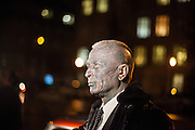 "Prof. Vladimír Franz waiting for his ""Air Franz One"" limousine after a discussion with all Czech presidential candidates at the National Technical Library in Prague Dejvice. Franz is a prominent Czech composer and painter, stage music author and also a registered candidate in the 2013 Czech presidential election."