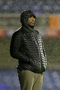 Southend United Manager Sol Campbell in the rain during the EFL Trophy match between Southend United and AFC Wimbledon at Roots Hall, Southend, England on 13 November 2019.