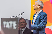 Sadiq Khan thanks Nicholas Serota (reflected in the podium) for his vision -  The new Tate Modern will open to the public on Friday 17 June. The new Switch House building is designed by architects Herzog & de Meuron, who also designed the original conversion of the Bankside Power Station in 2000.