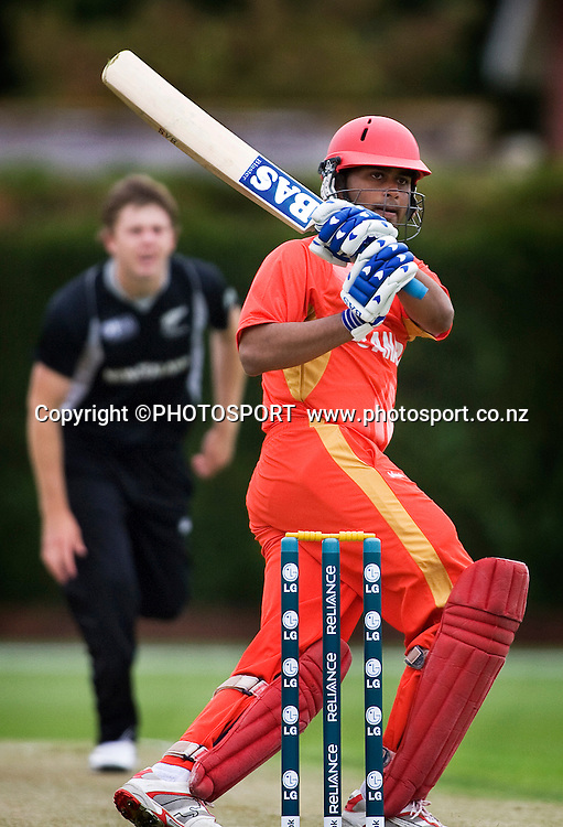 Canada's Ruvindu Gunasekera plays a ball fine for four off the bowling of Bevan Small. New Zealand v Canada, U19 Cricket World Cup group stage match, Lincoln #3, Saturday 16 January 2010. Photo : Joseph Johnson/PHOTOSPORT