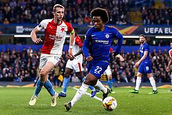 Willian of Chelsea takes on Tomas Soucek of Slavia Prague - Mandatory by-line: Robbie Stephenson/JMP - 18/04/2019 - FOOTBALL - Stamford Bridge - London, England - Chelsea v Slavia Prague - UEFA Europa League Quarter Final 2nd Leg
