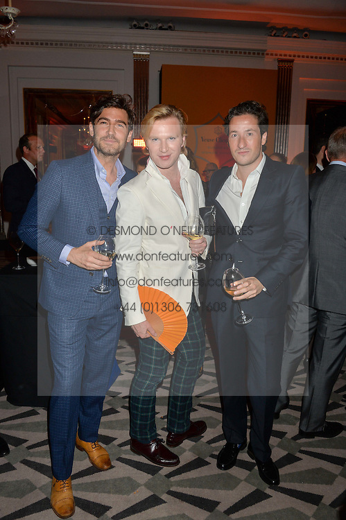 Left to right, ROBERT KONJIC, HENRY CONWAY and BLAISE PATRICK at the Veuve Clicquot Business Woman Award 2016 held at Claridge's Hotel, Brook Street, London on 9th May 2016.