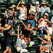 March 16, 2016, Palm Springs, CA:<br /> Fans catch a stray tennis ball during the 2016 BNP Paribas Open at the Indian Wells Tennis Garden in Indian Wells, California Wednesday, March 16, 2016.<br /> (Photos by Billie Weiss/BNP Paribas Open)