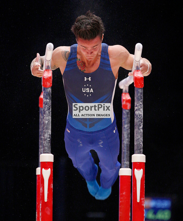 2015 Artistic Gymnastics World Championships being held in Glasgow from 23rd October to 1st November 2015....Paul Rugger III (USA) competing in the Parallel Bars competition..(c) STEPHEN LAWSON | SportPix.org.uk