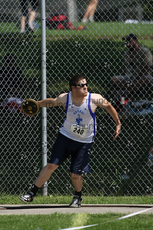 (Ottawa, Ontario---15 August 2008)  Alexandre Roy of Qu?bec competing in the men's discus at the 2008 Ontario Summer Games and Ontario v. Quebec v. Atlantic Canada Espoire Meet. Photo copyright Sean Burges/Mundo Sport Images. More details can be found at www.msievents.com.