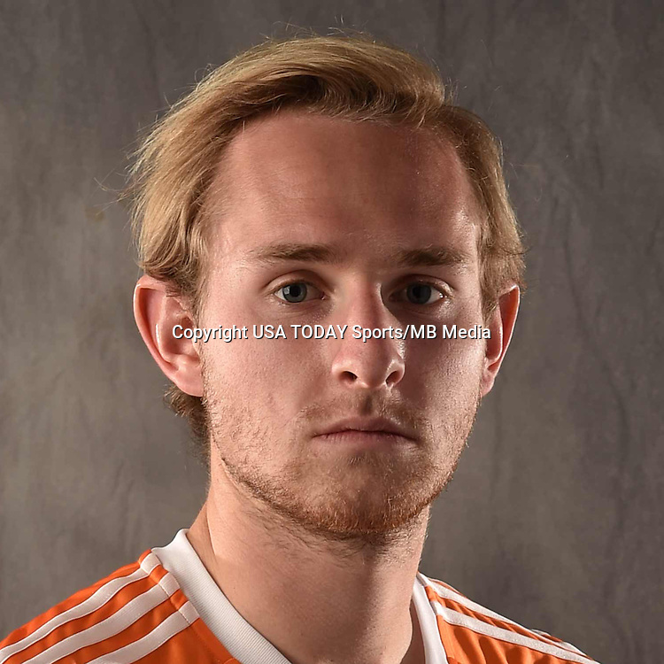 Feb 25, 2016; USA; Houston Dynamo player TJ Casner poses for a photo. Mandatory Credit: USA TODAY Sports