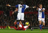 Photo: Steve Bond/Richard Lane Photography. Manchester United v Blackburn Rovers. Barclays Premiership 2009/10. 31/10/2009. Dimitar Berbatov, (ground) is adjudged to have been fouled by Christopher Samba