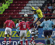 Charlton, London.  The Valley.<br /> 03/11/2002<br /> Barclaycard Premiership Football<br /> Charlton  Athletic v Sunderland<br /> Sunderland keeper Jurgan Macho, out jumps his defence to clear a crossed ball.    [Mandatory Credit:Peter SPURRIER/Intersport Images]