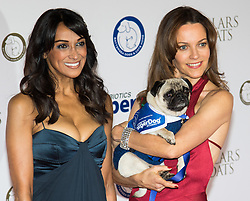 "Battersea, London, November 3rd 2016.  Celebrities and their dogs attend The Evolution at Battersea Park to attend The Battersea Dogs and Cats Home ""Collars and Coats Ball"". PICTURED: Jackie St Clair and Kim Frickleton(R)"