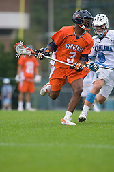 05 April 2008: Virginia Cavaliers midfielder Rhamel Bratton (3) during a 11-12 OT win over the North Carolina Tar Heels on Fetzer Field in Chapel Hill, NC.