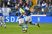 Sheffield Wednesday forward Lucas Joao (18) celebrates after scoring a goal to make it 2-2 during the EFL Sky Bet Championship match between Sheffield Wednesday and Sheffield Utd at Hillsborough, Sheffield, England on 24 September 2017. Photo by Adam Rivers.