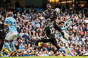 Crystal Palace #12 Mamadou Sakho, Crystal Palace #17 Christian Benteke, Manchester City (19) Leroy Sané during the Premier League match between Manchester City and Crystal Palace at the Etihad Stadium, Manchester, England on 23 September 2017. Photo by Sebastian Frej.