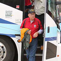 Percy Howland was the first Veteran from Jackson to step off the bus to visit the replica of the Vietnam Wall in Veterans Park Saturday