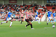 Billy Waters scores his first goal for CTFC during the Vanarama National League match between Cheltenham Town and Dover Athletic at Whaddon Road, Cheltenham, England on 12 September 2015. Photo by Antony Thompson.