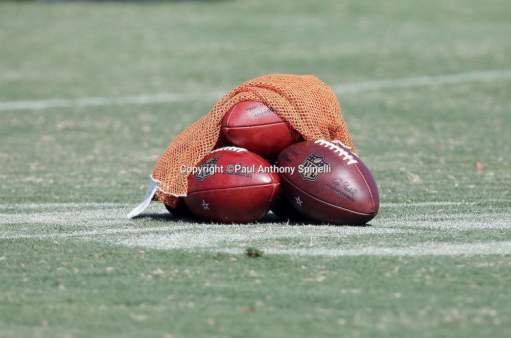 A pile of footballs lie on the grass under a bag during the second day of the Dallas Cowboys 2016 NFL training camp football practice held on Sunday, July 31, 2016 in Oxnard, Calif. (©Paul Anthony Spinelli)