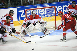 Martin St.Louis (26) of Canada, Brent Burns (8) of Canada, Goalkeeper Cam Ward and Danis Zaripov (25) of Russia at  ice-hockey game Canada vs Russia at finals of IIHF WC 2008 in Quebec City,  on May 18, 2008, in Colisee Pepsi, Quebec City, Quebec, Canada. Win of Russia 5:4 and Russians are now World Champions 2008. (Photo by Vid Ponikvar / Sportal Images)