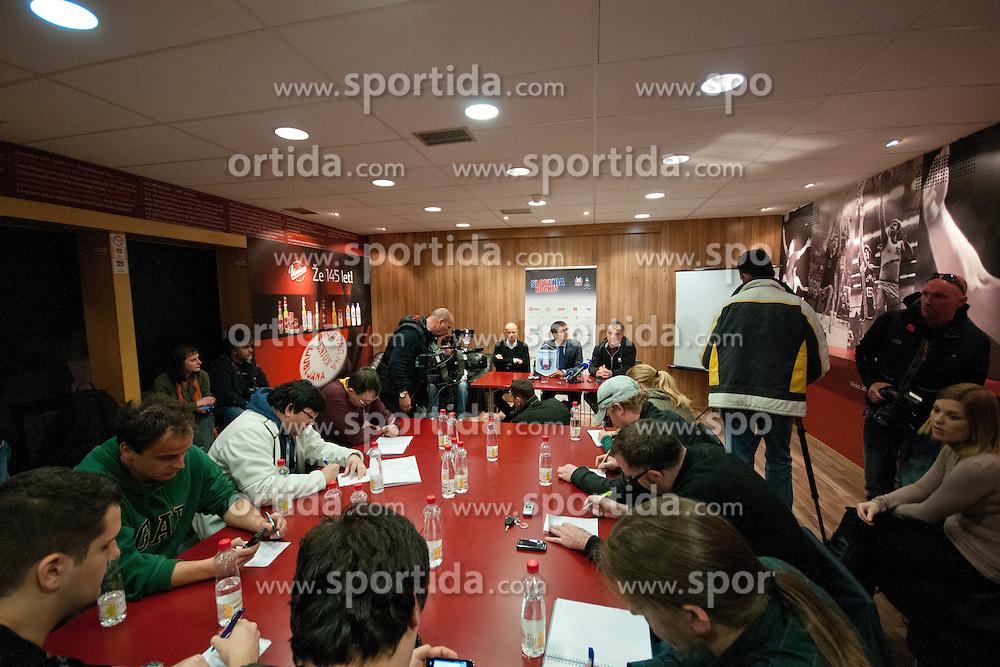Dejan Kontrec (director of HZS), Matjaz Rakovec (president of HZS) and Matjaz Kopitar (head coach of Slovenia, at press conference of Slovenian National team before Ice-Hockey World Championships Division I Ljubljana 2012, on April 11, 2012 at Hala Tivoli, Ljubljana, Slovenia. (Photo By Matic Klansek Velej / Sportida)