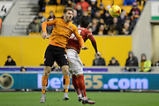 Wolverhampton Wanderers midfielder James Henry wins a header during the Sky Bet Championship match between Wolverhampton Wanderers and Nottingham Forest at Molineux, Wolverhampton, England on 11 December 2015. Photo by Alan Franklin.