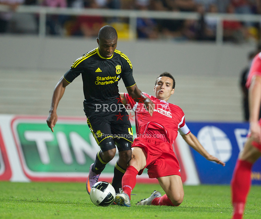 SKOPJE, MACEDONIA - Thursday, July 29, 2010: Liverpool's David Amoo in action against FK Rabotnicki during the UEFA Europa League 3rd Qualifying Round 1st Leg match at the National Arena Filip II Stadium. (Pic by David Rawcliffe/Propaganda)