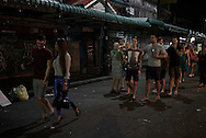Fiona in the throws of socializing with British backpackers in Khaosan Rd. Bangkok, Thailand.