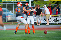 KELOWNA, BC - AUGUST 3:  Defensive back Kian Ishani #8 of the Okanagan Sun celebrates a first quarter touchdown against the Kamloops Broncos at the Apple Bowl on August 3, 2019 in Kelowna, Canada. (Photo by Marissa Baecker/Shoot the Breeze)
