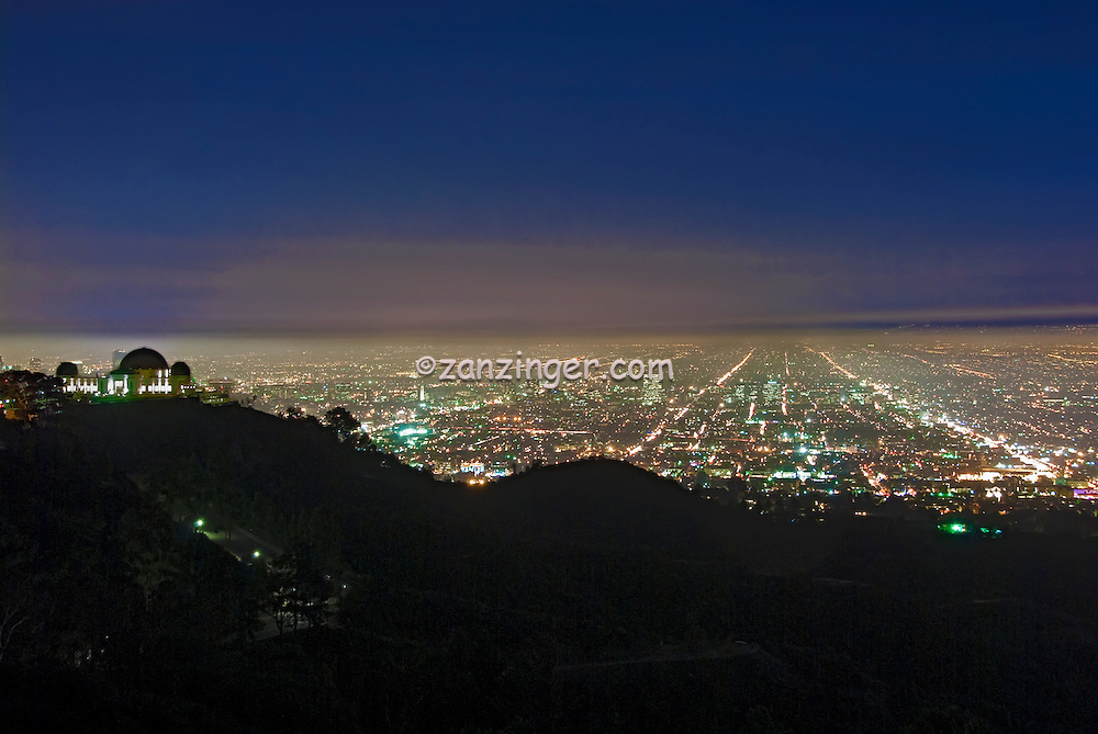 Griffith Observatory, L.A. Skyline, los Angeles CA, Cityscape, Night, Dusk, lit, ia