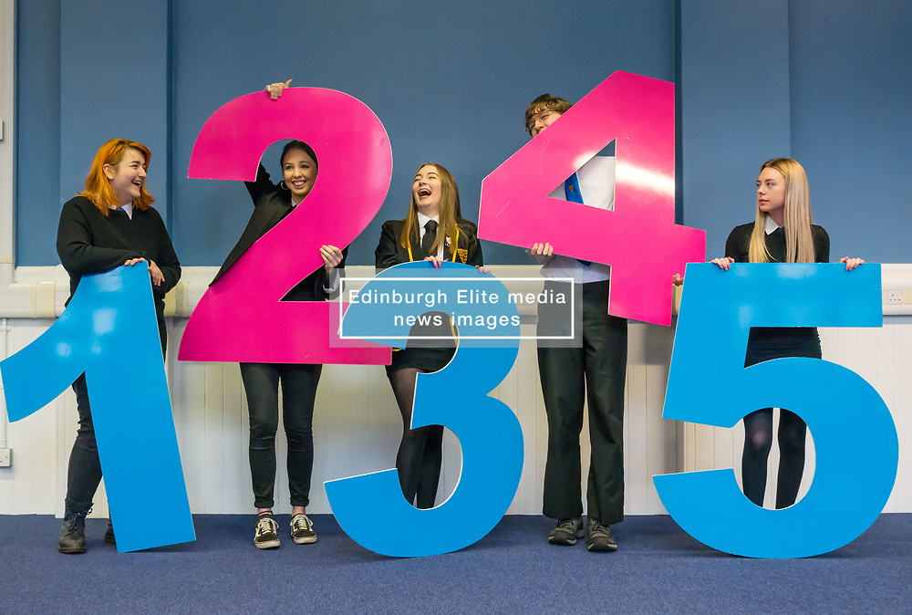 Pictured: School pupils demonstrate STV Voting , 03 April 2019. 5th and 6th school pupils who are eligible to vote in local Scottish elections help raise awareness of the forthcoming Leith Walk By-election on April 11th. They show that voting will be as easy as 1, 2, 3 and demonstrate the single transferable vote (STV) system being used in the by-election with a set of giant numbers. 1: Lucja Zembrzuska, age 16 years<br /> 2: Megan Natta, age 18 years<br /> 3: Angel Douglas, age 17 years<br /> 4: Daniel Farrow, age 17 years<br /> 5: Neva Houston, age 17 years<br /> <br /> Sally Anderson   EdinburghElitemedia.co.uk