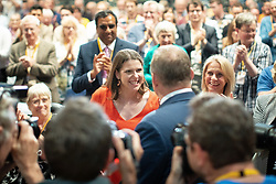© Licensed to London News Pictures . 16/09/2019. Bournemouth, UK. JO SWINSON shakes hands with ED DAVEY after Davey's speech during the Liberal Democrat Party Conference at the Bournemouth International Centre . Photo credit: Joel Goodman/LNP