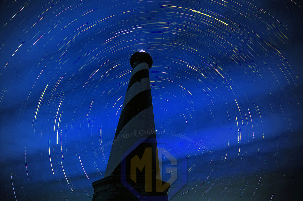 First clear night to try shooting star trails. 125 30 sec exposures at ISO 200 30'/2.8 spaced at 2 seconds apart. Images stacked to create the star trails. The north star (Polaris) is midway up the lighthouse, on the right side. The only star not leaving a trail.