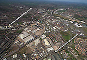aerial photograph of Boimbardier Works /  Derby Litchurch Lane Works / Derby Carriage and Wagon Works /   Derby Derbyshire UK