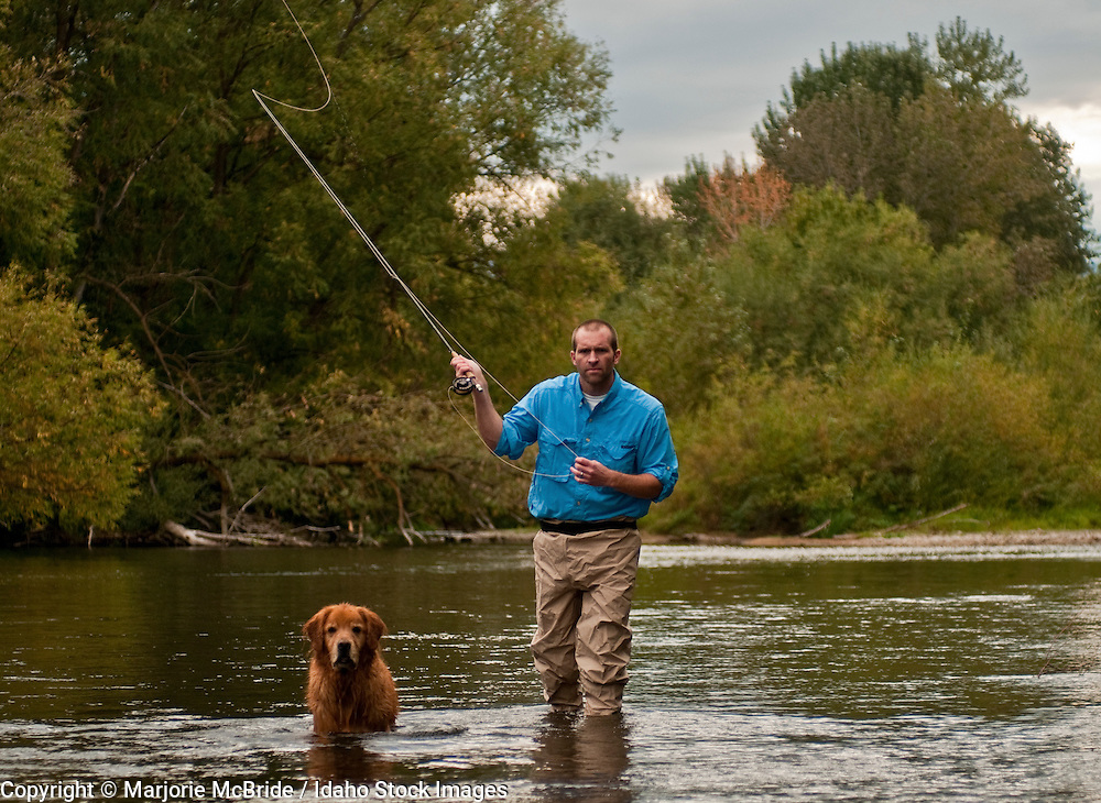 Man and his dog a golden retriever fly fishing the Boise River during autumn in Boise, Idaho.