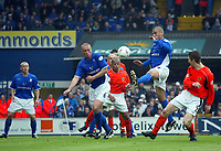 Photo: Scott Heavey.<br /> Ipswich Town v Cardiff City. Nationwide Division One. 09/05/2004.<br /> Lee Bullock glances in a header for Cardiff's equaliser