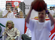 (L) EUNICE SHRIVER FOUNDER SPECIAL OLYMPIC & (R) ATHLETE WITH INTELLECTUAL DISABILITIES DURING SPORT EXPERIENCE INCLUDING SPECIAL OLYMPICS WORLD SUMMER GAMES SHANGHAI 2007..SPECIAL OLYMPICS IS AN INTERNATIONAL ORGANIZATION DEDICATED TO EMPOWERING INDIVIDUALS WITH INTELLECTUAL DISABILITIES..SHANGHAI , CHINA , OCTOBER 01, 2007.( PHOTO BY ADAM NURKIEWICZ / MEDIASPORT )..